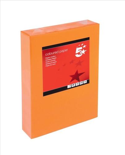 5 Star Tinted A4 80gsm Deep Orange Pk500