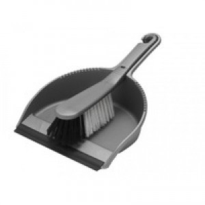 Addis Soft Dustpan and Brush Set Metallic