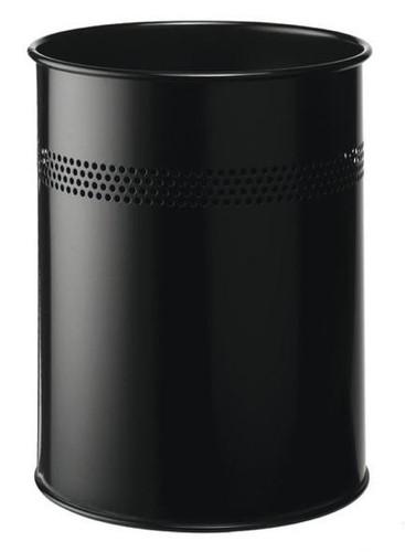 Durable 14.7 Litre Cylinder Metal Bin Black
