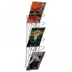 Alba Wall Mounted 7-Tier 7-Pocket Literature Holder A4 Chrome DD7M