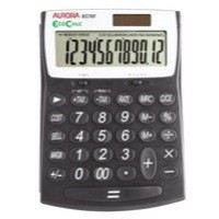 Aurora EcoCalc Large Desktop Calculator 12-digit Black EC707