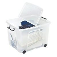 Strata Smart Box 75 Litre on Wheels Clear HW676-CLR