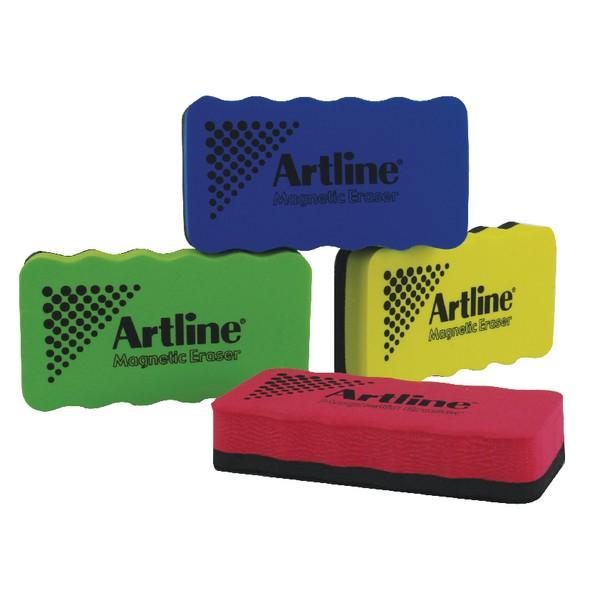 Artline Magnetic Whiteboard Eraser Pack of 4 Assorted ERTMM4A