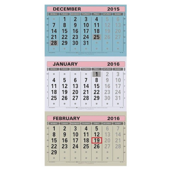 At-a-Glance Large Wall Calendar 3 Months to View 2014 TML
