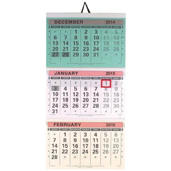 Neale Dataday At A Glance Large Wall Calendar 3 Month To View 2015