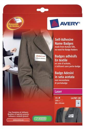 Avery Self Adhesive Name Badge 10TV White/Blue Border L4787-20