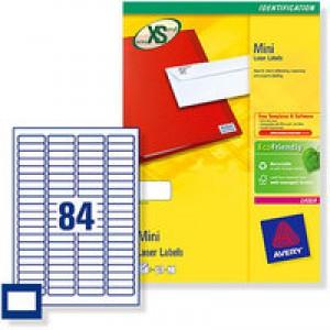 Avery Mini Label 46x11.11mm 84TV per Sheet White L7656-100