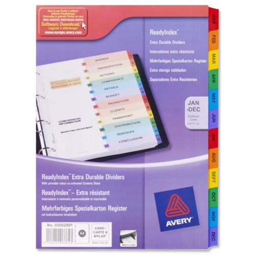 Avery Ready Index Mylar 10-Part Index Assorted 01971501