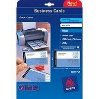 Avery Quick And Clean Business Cards Laser 270gsm 85x54mm Satin Ultra White Code C32026-25