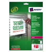 Avery Removable Sign Self-Cling Non-Static No Adhesive 1 Per Sheet 190x275mm Code L7080-10