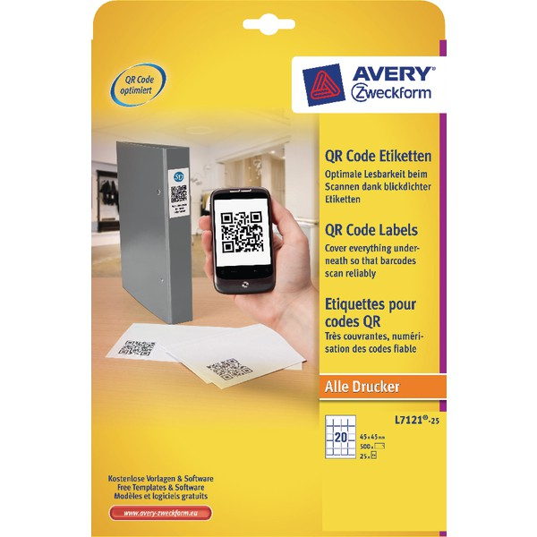 Avery QR Code Label Square 45x45mm L7121-25