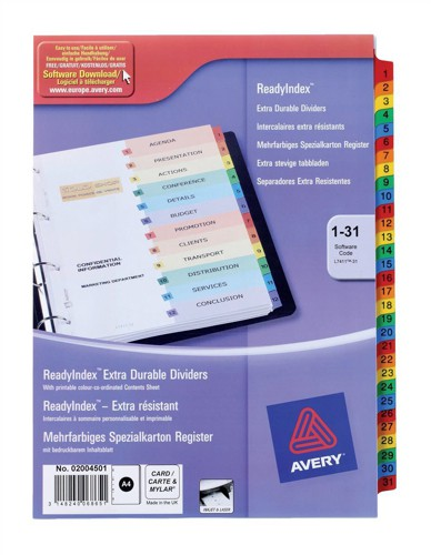 Avery Ready Index 1-31 Assorted 02004501