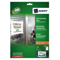 Avery Self-Laminating Adhesive Sign 170x257mm White L7087-10