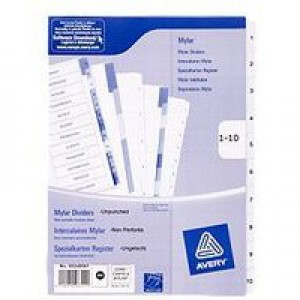 Avery Mylar Numeric Divider Bright White 1-10 A4 05248061 (FPC)