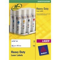 Avery Laser Label 209x294mm Heavy Duty 1 per Sheet Pack of 20 White L4775-20
