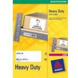 Avery Laser Label 209x294mm Heavy Duty Silver 1 per Sheet Pack of 20 L6013-20