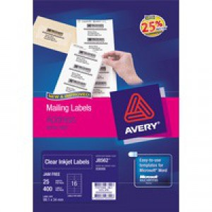 Avery Clear Mini Inkjet Label 38.1x21.2mm 2 per Sheet Pack of 25 J8551-25
