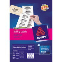 Avery Clear Mini Inkjet Label 38.1x21.2mm 2 per Sheet Pack of 25 J8551-25