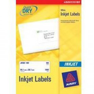 Avery Quick DRY Addressing Labels Inkjet 14 per Sheet 99.1x38.1mm White Ref J8163-25 [350 Labels]