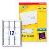 Avery QuickDRY Inkjet Label 63.5x72mm 12 per Sheet Pack of 25 J8164-25