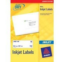 Avery QuickDRY Inkjet Label 199.6x143.5mm 2 per Sheet Pk 25 J8168-25