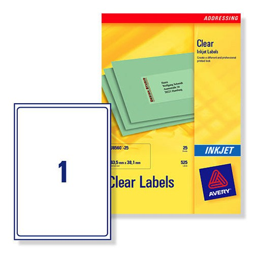 Avery Clear Inkjet Label A4 1 per Sheet Pack of 25 J8567-25