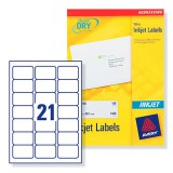 Avery QuickDRY Inkjet Label 63.5x38.1mm 21 per Sheet Pack of 250 J8160-250