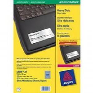 Avery Laser Label 25.4x10mm Heavy Duty Silver 189 per Sheet Pack of 20 L6008-20