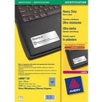 Avery Laser Label 63.5x29.6mm Heavy Duty Silver 27 per Sheet Pack of 20 L6011-20