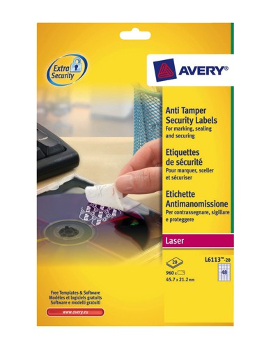Avery Anti-Tamper Laser Label 48 per Sheet Pack of 20 White L6113-20