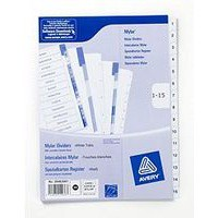 Avery Index Multipunched 1-15 A4 White Ref 05463061