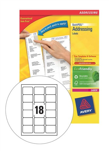 Avery Jam-Free QuickPEEL Laser Label White Address 63.5x46.6mm Pack of 40 L7161-40