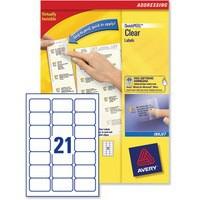Avery Clear Inkjet Label 63.5x38.1mm 21 per Sheet Pack of 25 J8560-25
