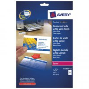 Avery Quick and Clean Business Cards Laser 220gsm 10 per Sheet Satin Colour Ref C32016-25 [250 Cards]