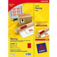 Avery Printable Red Warning Label 99.1x67.7mm Pack of 25 L7790R-25