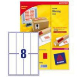 Avery Printable Red Warning Label 50x142mm Pack of 25 L7791R-25