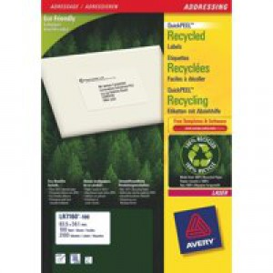 Avery Recycled Laser Label White Address 99.1x38.1mm 14 per Sheet Pack of 100 LR7163-100
