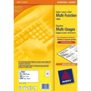 Avery Multi-Purpose Label 70x42.3mm 21TV per Sheet White Pack of 100 Sheets 3652