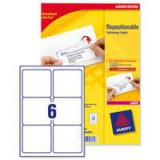 Avery Repositionable Shipping Label 6TV per Sheet White Pack of 100 L7966-100