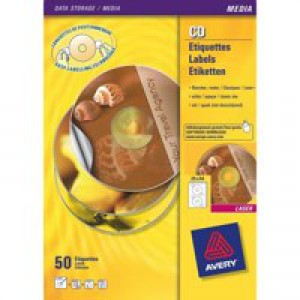 Avery CD/DVD Labels Inkjet 2 per Sheet Dia.117mm QuickDRY Ref J8676-100 [200 Labels]