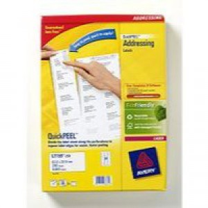 Avery Jam-Free Laser Address Label 24TV 64x34mm 24 per Sheet Pack of 250 White L7159-250 (FPC)