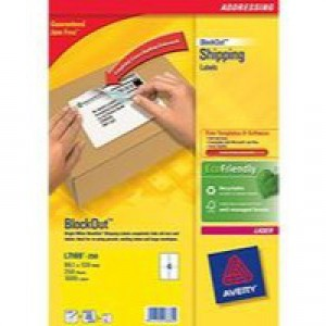 Avery Jam-Free Laser Address Label 4TV 139x99.1mm 4 per Sheet Pack of 250 White L7169-250 (FPC)