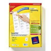 Avery Jam-Free Laser Address Label 18TV 63.5x46.6mm 18 per Sheet Pack of 500 White L7161-500 (FPC)
