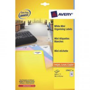 Avery Laser Mini Address Label 38.1x21.2mm 65TV per Sheet Pack of 250 White L7651-250 (FPC)