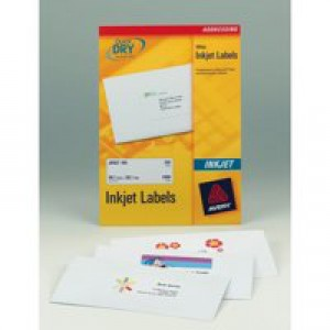Avery QuickDRY Inkjet Label 99.1x33.9mm 16 per Sheet Pack of 100 J8162-100