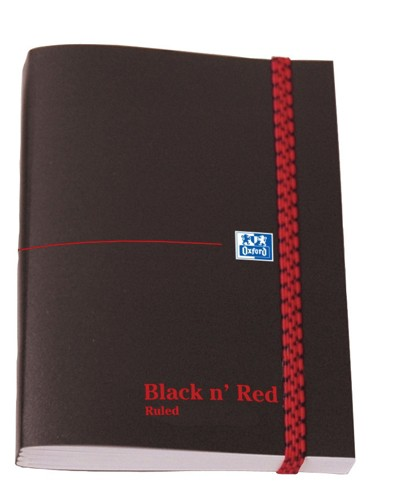 Black n Red Polynote Book Casebound Elasticated 90gsm Ruled 192pp A6 Ref 100080416 [Pack 5]