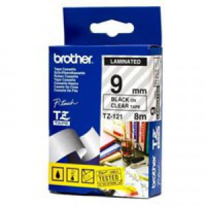 Brother P-Touch Tape 9mm Black/Clear TZE121