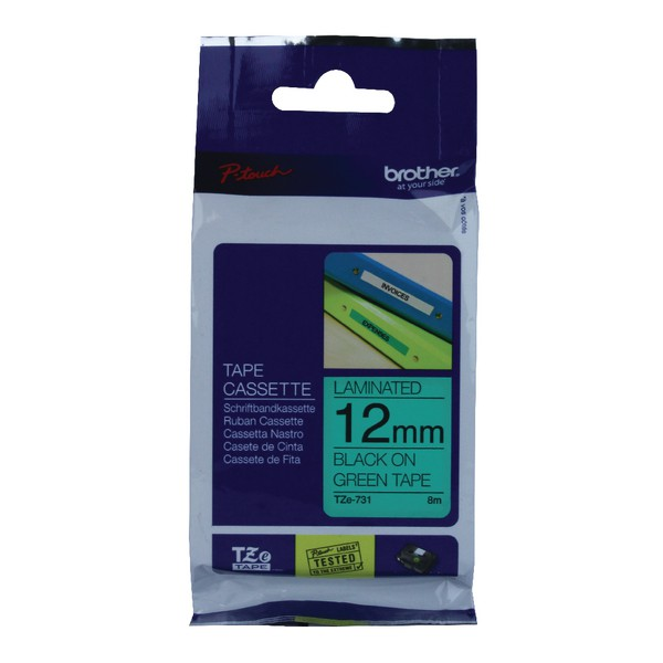 Brother P-Touch TZe Tape 12mm Black/Green TZE731
