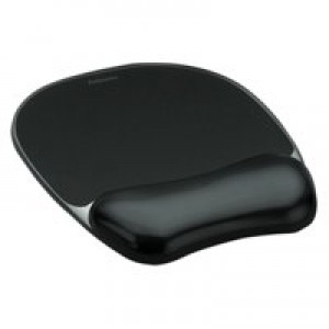 Fellowes Crystal Mouse Pad and Wrist Rest Black 9112101