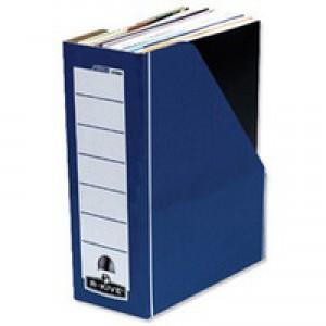 R-Kive Premium Magazine File Fastfold A4 Plus Blue and White Ref 0722906 [Pack 10]